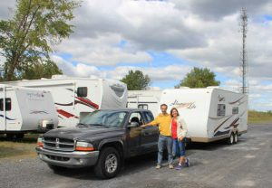 Dan and Katerina Morin next to their RV